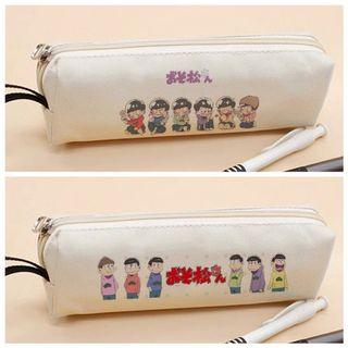 Osomatsu-san Minimalist White Canvas Pencil Case Holder