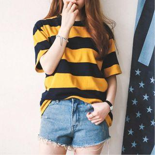 [Instock] Black and Yellow Striped Ulzzang Oversized Tee