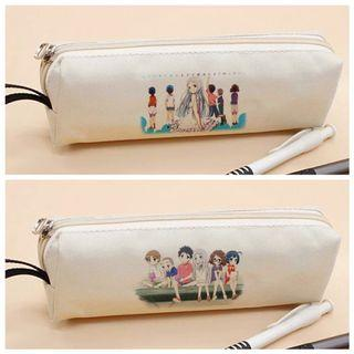 Anohana Minimalist White Canvas Pencil Case Holder