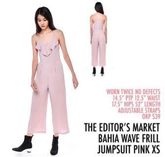 The Editor's Market TEM Bahia Frill Jumpsuit Pink Small S