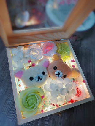 Clearance sales rilakuma soap flower with wooden box and led light