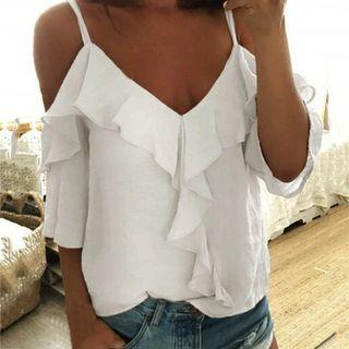 Playdress White Off Shoulder Ruffled Spag Top