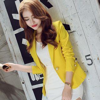 🚚 韓版女西裝外套黃色翻領造型外套修身還有綠色