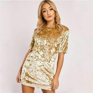 TEM gold velvet crushed tee dress