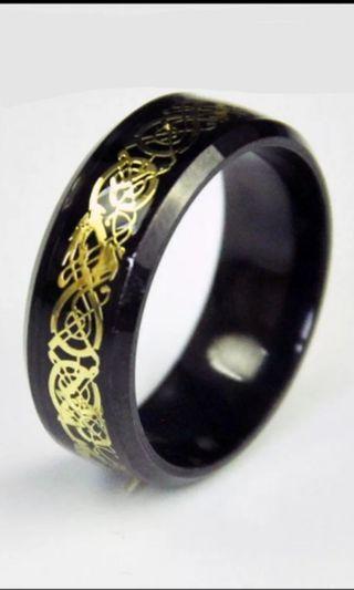 Black & gold dragon Celtic inlay ring