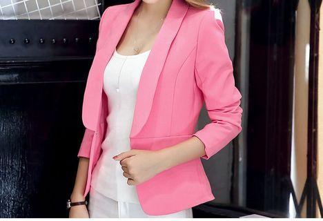 韓版粉色西裝外套絲瓜領修身主播服
