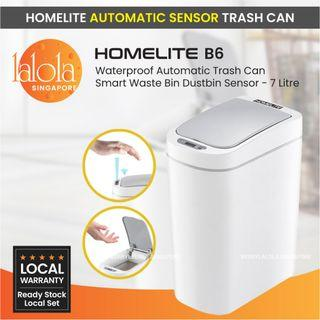 ✔FREE DELIVERY: HomeLite B6 Waterproof Automatic Trash Can Smart Waste Bin Dustbin Sensor - 7 Litre