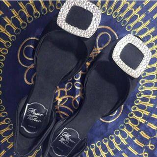 😆FREE SHIPPING* under 500g😆AU 8 Black Roger Vivier Paris Chips Strass silk ballerina flats