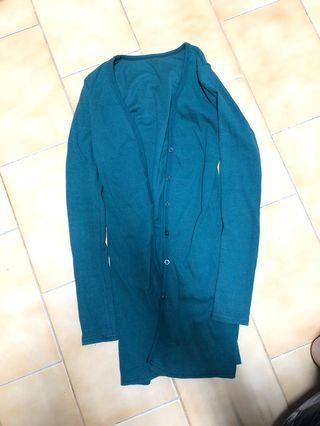 藍綠色長版外套