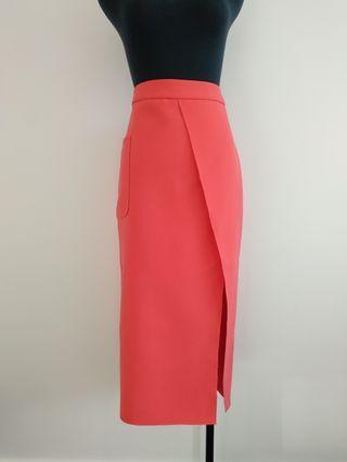 Topshop Coral pink pencil skirt AU 8