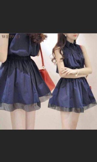 婚禮洋裝 深藍色蕾絲氣質收腰連身裙