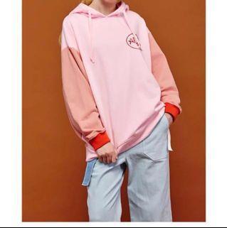 ulzzang korean pink hoodie