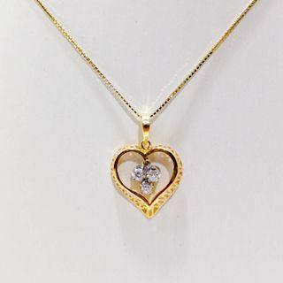Heart Shape Triple Diamond Pendant