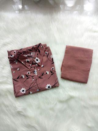 Kemeja motif + hijab