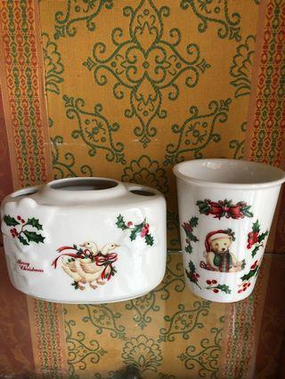 聖誕風格衛浴用品(牙刷&潄口杯)