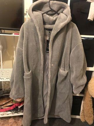 Boohoo Petite Oversized Grey Teddy Coat