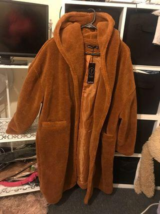 Boohoo Petite Oversized Caramel Teddy Coat