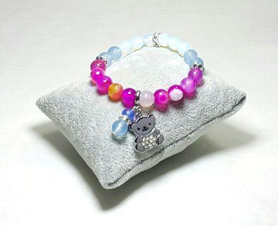 Cute Teddy Charm Pendant Elastic Bracelet