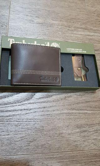 Timberland men's Slimfold Leather Wallet with matching Key Fob, with Gift Box
