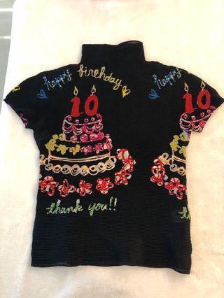 真品Issey Miyake三宅一生‧PP‧Me PLEATS PLEASE黑色限量生日蛋糕短袖上衣
