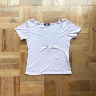 Brandy Melville Ribbed Carrie Top in Pink