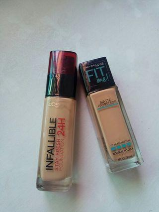 Maybelline Fit Me Foundation & Loreal Foundation