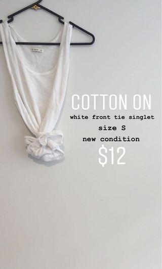 cotton on white tie up singlet