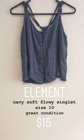 element soft flowy navy singlet