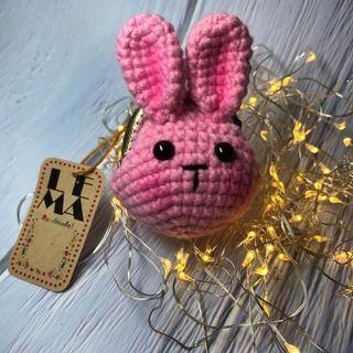 🚚 粉紅兔 鉤針編織造型 鑰匙圈小口金包 5cm