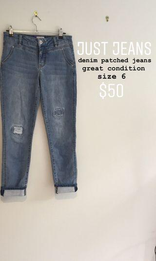 just jeans denim patched jean