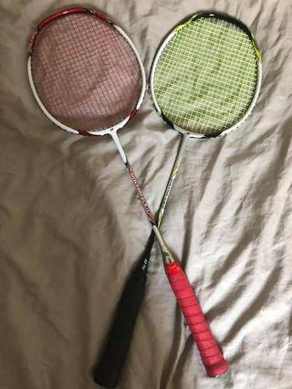 new Yonex badminton rackets and threads  used once only - no scratches 250 each Or both for 400