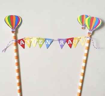 Rainbow Cake banner / Bunting with hot air balloon