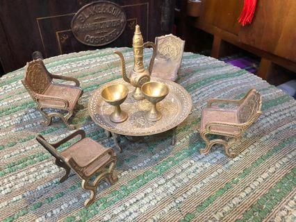 🚚 Vintage 8 Pieces Brass Miniature Indian Tea Set With Table And Chairs