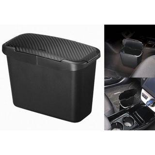 🚚 權世界@汽車用品 日本CARMATE 車用中控台邊 吊掛式碳纖紋蓋垃圾桶 收納置物盒 CZ489