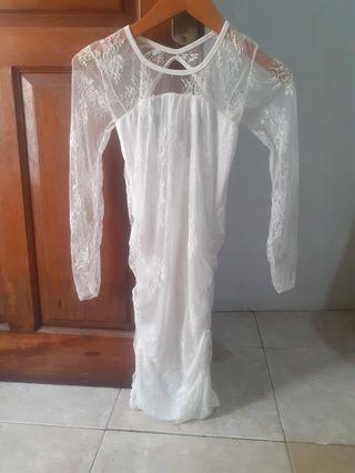#mauvivo Midi Dress White