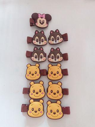 迪士尼 Disney 頭飾 髮飾 頭夾 髮夾 ($10 for 3) Pooh Olaf Chip & Dale 女童 女孩 小童 小朋友