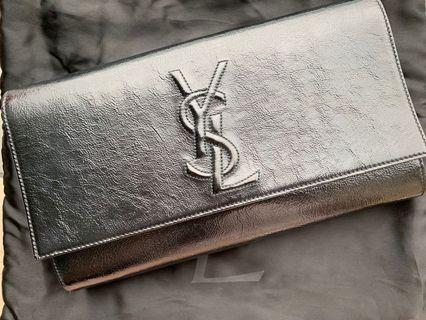 YSL Black patent leather clutch