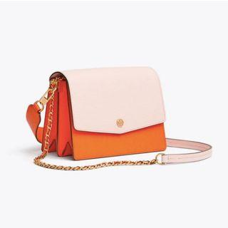 Authentic Tory Burch Robinson Colorblock Convertible Shoulder Bag in Orange - Brand New