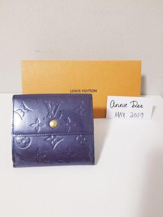 Authentic Louis Vuitton Indigo Vernis Porte Mannaie Billets Cartes Credit Wallet (Rare)