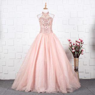 Readystock pink diamond ball prom halter neck princess wedding bridal gown dress