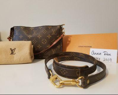 Authentic Louis Vuitton Pochette Accessoires with original strap in monogram