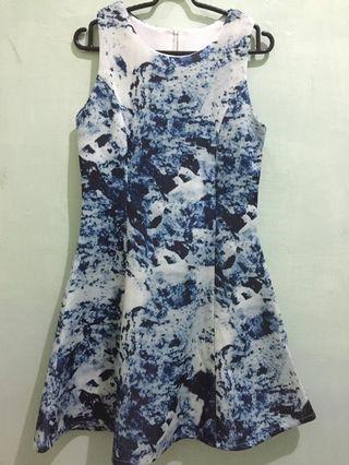 Dress import motif blue abstrak