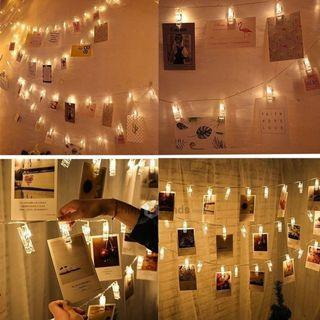 20 LED Warm White Photo Clip Fairy String Lights Battery