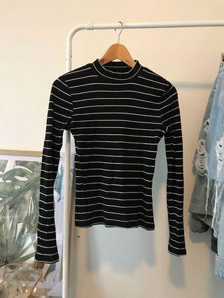 Striped Long-Sleeve Black & White Knitted Top with Mock Turtle Neck