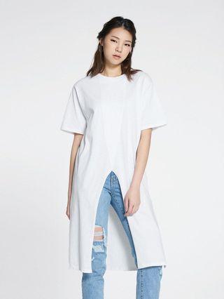 Pomelo Fashion Slit Maxi Tee in White
