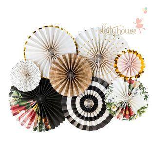 A Set of Paper Fan Pinwheel - Rustic Floral