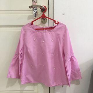 atasan blouse top pink (meraki)