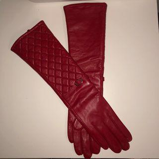 Red Genuine Leather Gloves