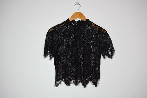 Forever 21 Black Lace Trim Blouse