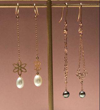 18k金天然珍珠長耳環
